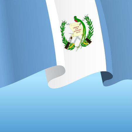 Guatemalan flag wavy abstract background. Vector illustration.