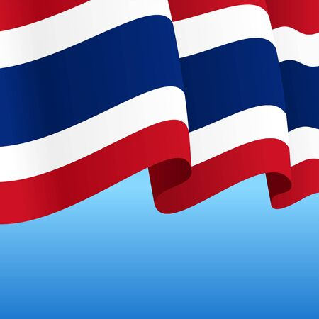 Thai flag wavy abstract background. Vector illustration.