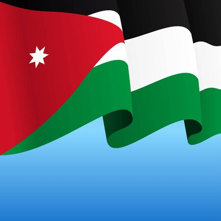 Jordanian flag wavy abstract background. Vector illustration.