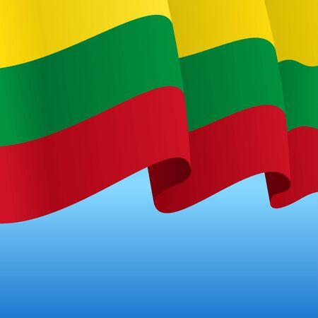 Lithuanian flag wavy abstract background. Vector illustration. Ilustración de vector