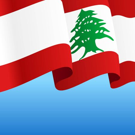 Lebanese flag wavy abstract background. Vector illustration.