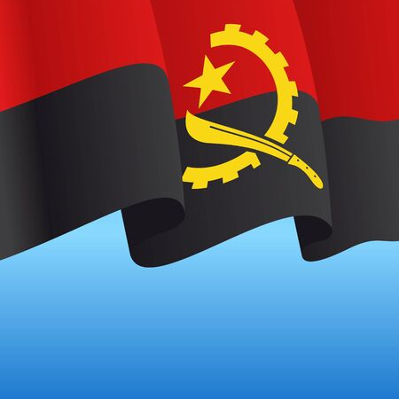 Angolan flag wavy abstract background. Vector illustration.