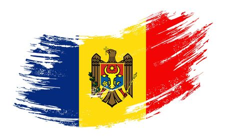 Moldovan flag grunge brush background. Vector illustration. Illustration