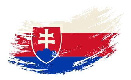 Slovak flag grunge brush background. Vector illustration.