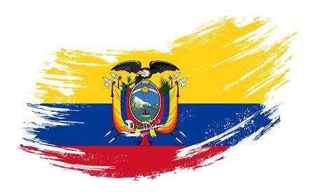 Ecuadorian flag grunge brush background. Vector illustration. Vector Illustration