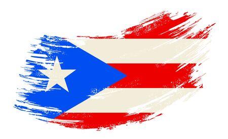 Puerto Rican flag grunge brush background. Vector illustration.