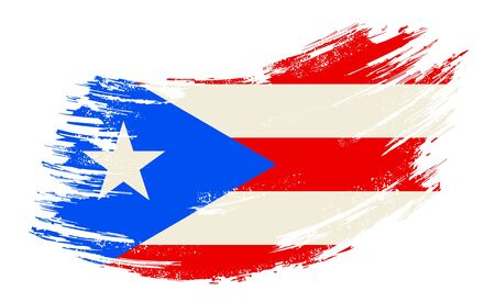 Puerto Rican flag grunge brush background. Vector illustration.