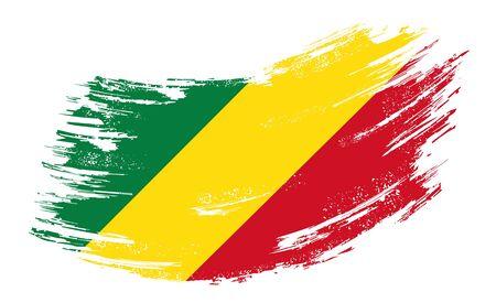 Congolese flag grunge brush background. Vector illustration.