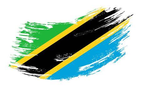 Tanzanian flag grunge brush background. Vector illustration.