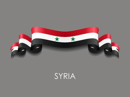 Syrian flag wavy ribbon background. Vector illustration.