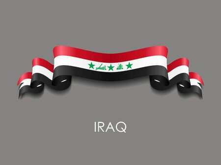 Iraqi wavy flag ribbon on gray background. Vector illustration.