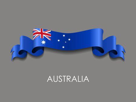 Australian wavy flag ribbon on gray background. Vector illustration.