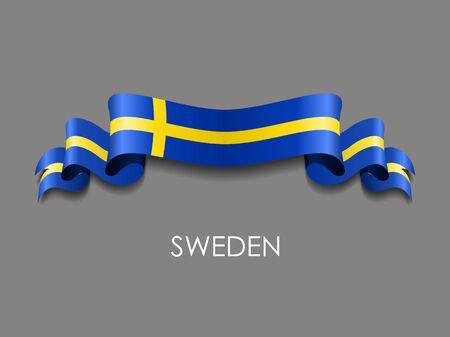 Swedish wavy flag ribbon on gray background. Vector illustration.