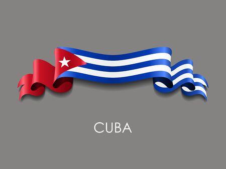 Cuban flag wavy ribbon background. Vector illustration.