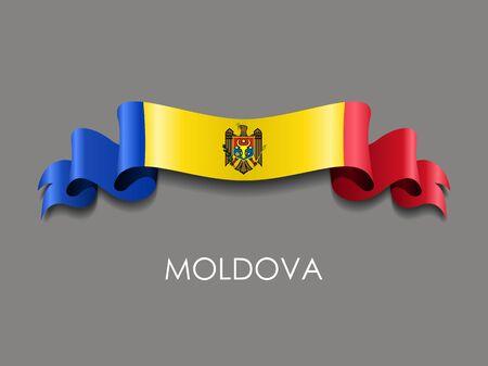 Moldovan flag wavy ribbon background. Vector illustration. Illustration
