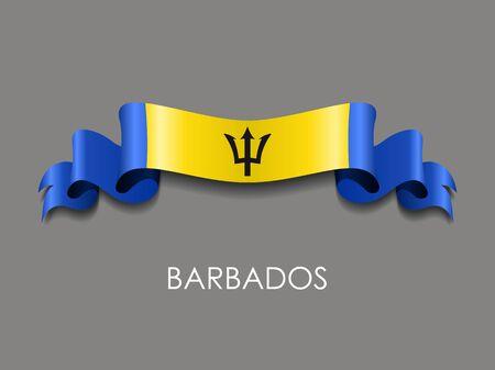 Barbados flag wavy ribbon background. Vector illustration.