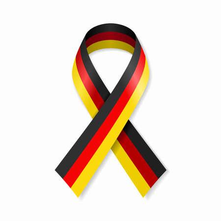 German flag stripe ribbon on white background. Vector illustration.