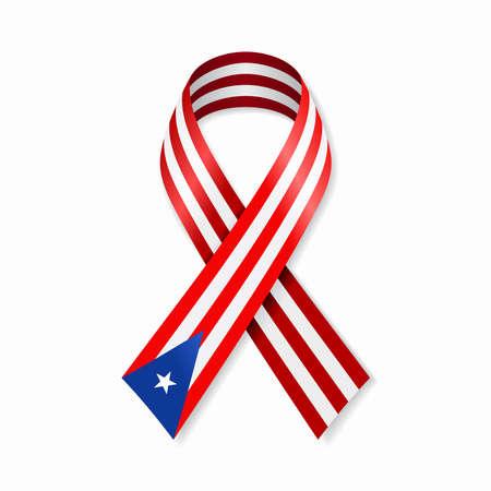 Puerto Rican flag stripe ribbon on white background. Vector illustration.