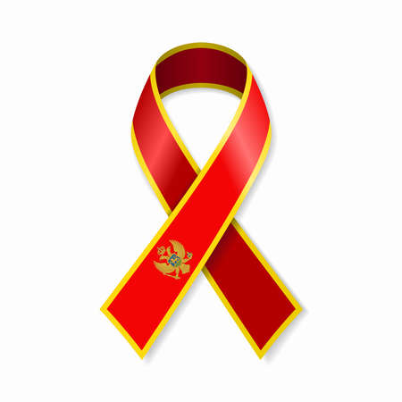 Montenegrian flag stripe ribbon on white background. Vector illustration.