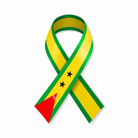 Sao Tome and Principe flag stripe ribbon on white background. Vector illustration.
