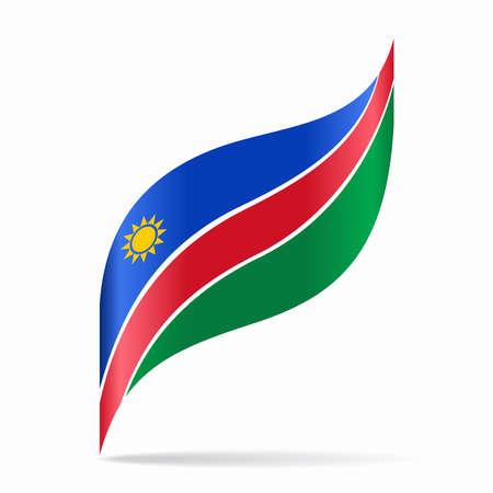 Namibian flag wavy abstract background. Vector illustration.