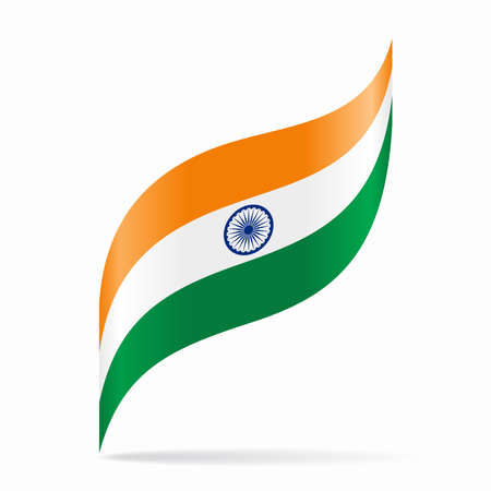 Indian flag wavy abstract background. Vector illustration.