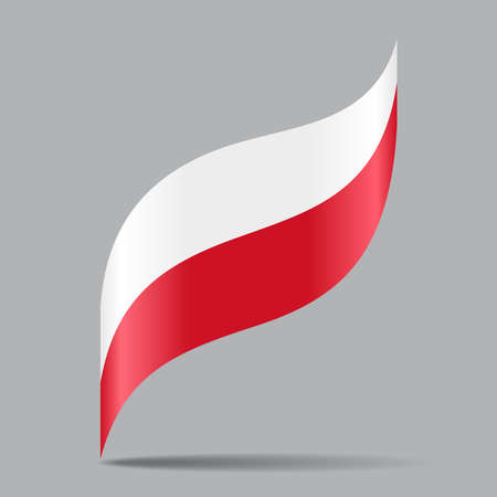 Polish flag wavy abstract background. Vector illustration. Çizim
