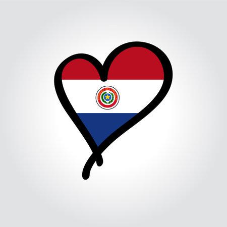 Paraguayan flag heart-shaped hand drawn . Vector illustration. Illusztráció