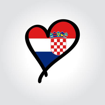 Croatian flag heart-shaped hand drawn . Vector illustration.