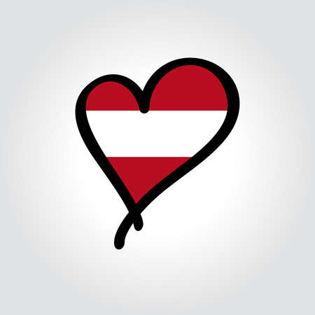 Austrian flag heart-shaped hand drawn . Vector illustration.