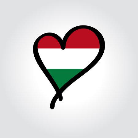 Hungarian flag heart-shaped hand drawn . Vector illustration.