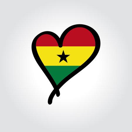 Ghanayan flag heart-shaped hand drawn . Vector illustration.  イラスト・ベクター素材