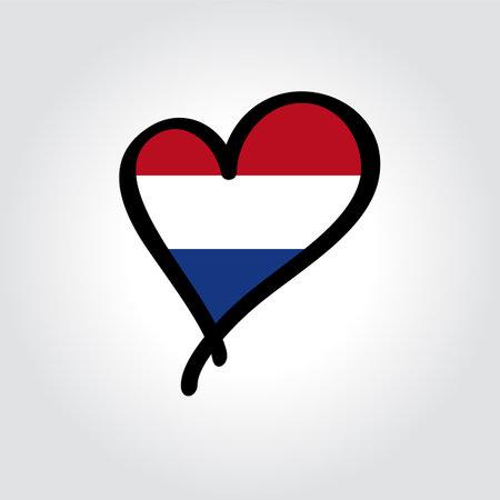Dutch flag heart-shaped hand drawn . Vector illustration.