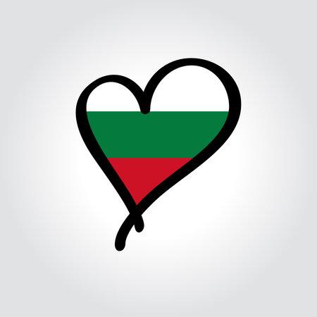 Bulgarian flag heart-shaped hand drawn . Vector illustration.  イラスト・ベクター素材