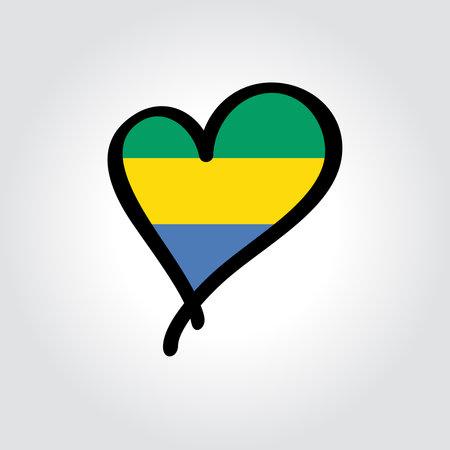 Gabon flag heart-shaped hand drawn . Vector illustration.