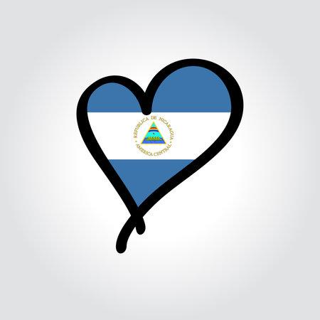 Nicaraguan flag heart-shaped hand drawn . Vector illustration.