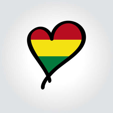 Bolivian flag heart-shaped hand drawn . Vector illustration.