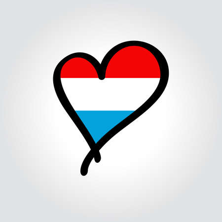 Luxembourg flag heart-shaped hand drawn . Vector illustration.  イラスト・ベクター素材