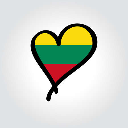 Lithuanian flag heart-shaped hand drawn . Vector illustration.