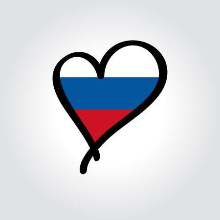 Russian flag heart-shaped hand drawn . Vector illustration.