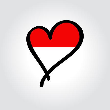 Indonesian flag heart-shaped hand drawn . Vector illustration.