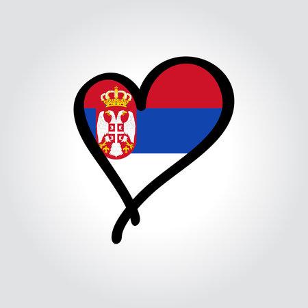 Serbian flag heart-shaped hand drawn . Vector illustration.
