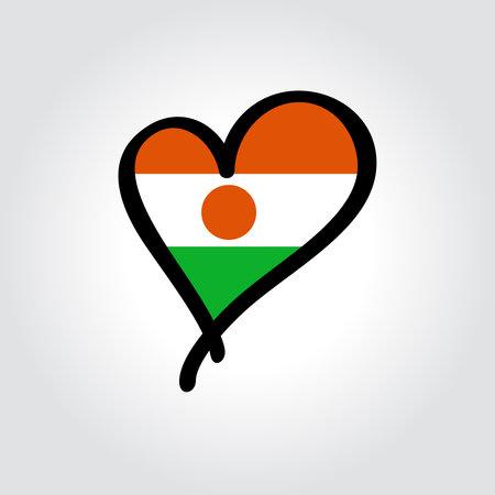Niger flag heart-shaped hand drawn . Vector illustration.