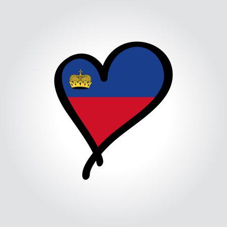 Liechtenstein flag heart-shaped hand drawn . Vector illustration.