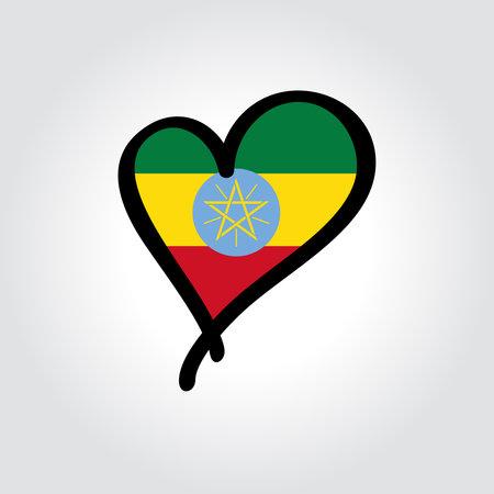 Ethiopian flag heart-shaped hand drawn . Vector illustration. Vettoriali