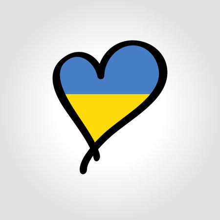 Ukrainian flag heart-shaped hand drawn . Vector illustration.