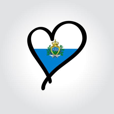 San Marino flag heart-shaped hand drawn . Vector illustration.