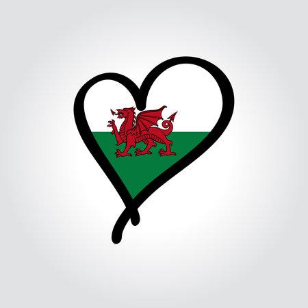 Welsh flag heart-shaped hand drawn . Vector illustration.