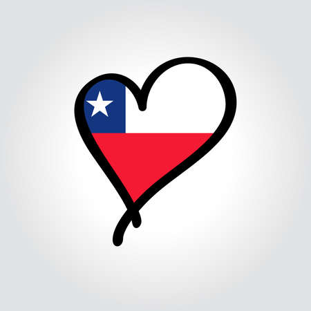 Chilean flag heart-shaped hand drawn . Vector illustration.