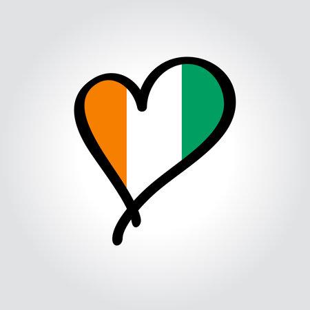 Ivorian flag heart-shaped hand drawn . Vector illustration. Vettoriali